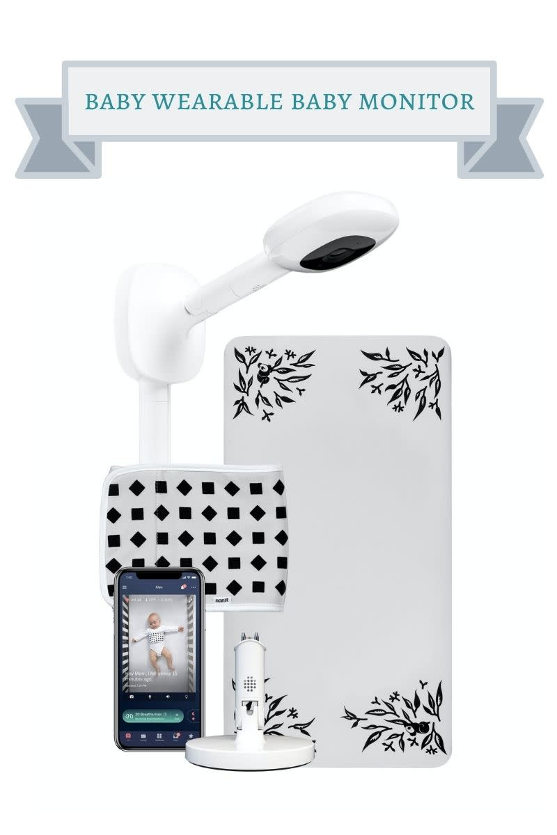 white and black floral print and geometric print nanit baby monitoring system
