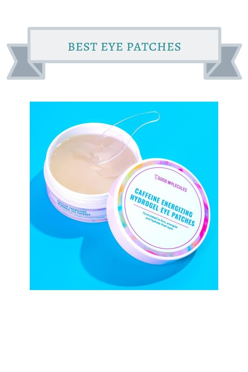 white jar of eye patches with rainbow stripe on top