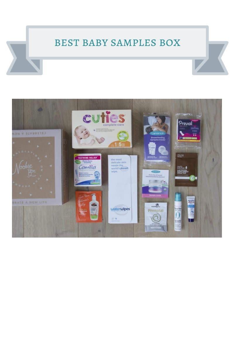 cardboard box next to baby product samples like cuties, aquaphor, prevail etc.
