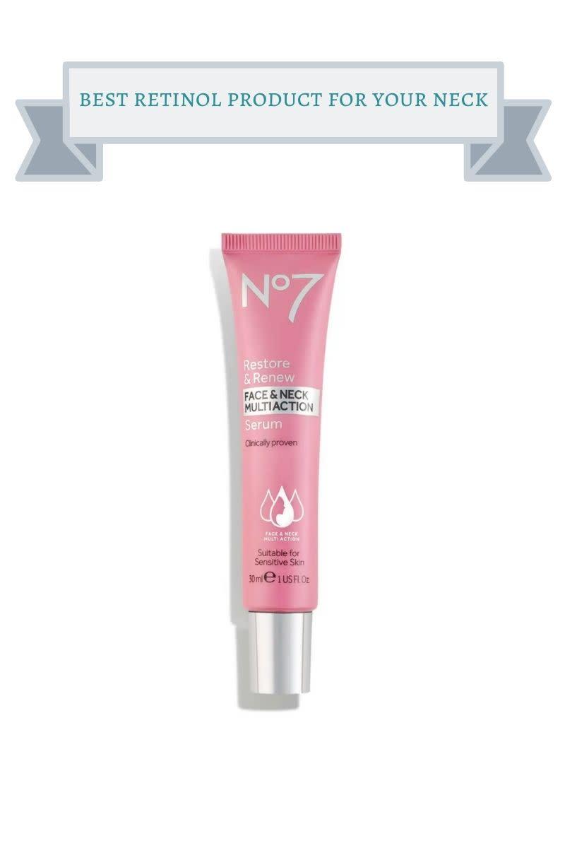 pink tube of no 7 retinol neck serum
