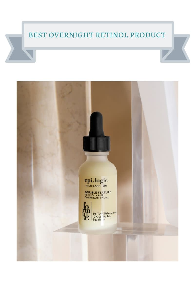 cream and black bottle of epi.logic overnight retinol serum