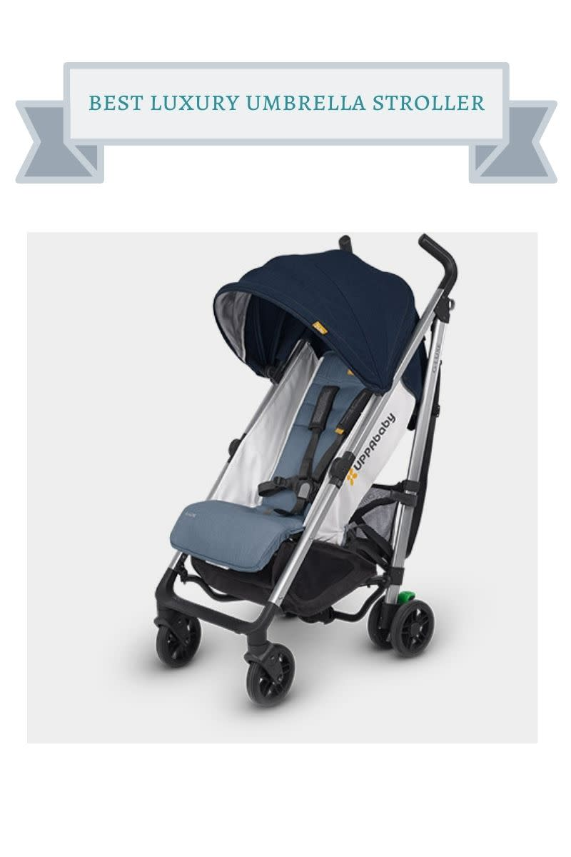 denim and silver uppababy g-luxe stroller