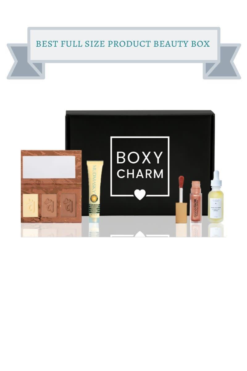 black boxycharm box with sample size eyeshadow, lip gloss and primer