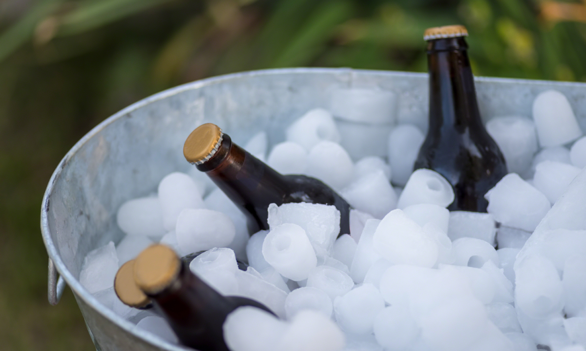 iced tub of drinks