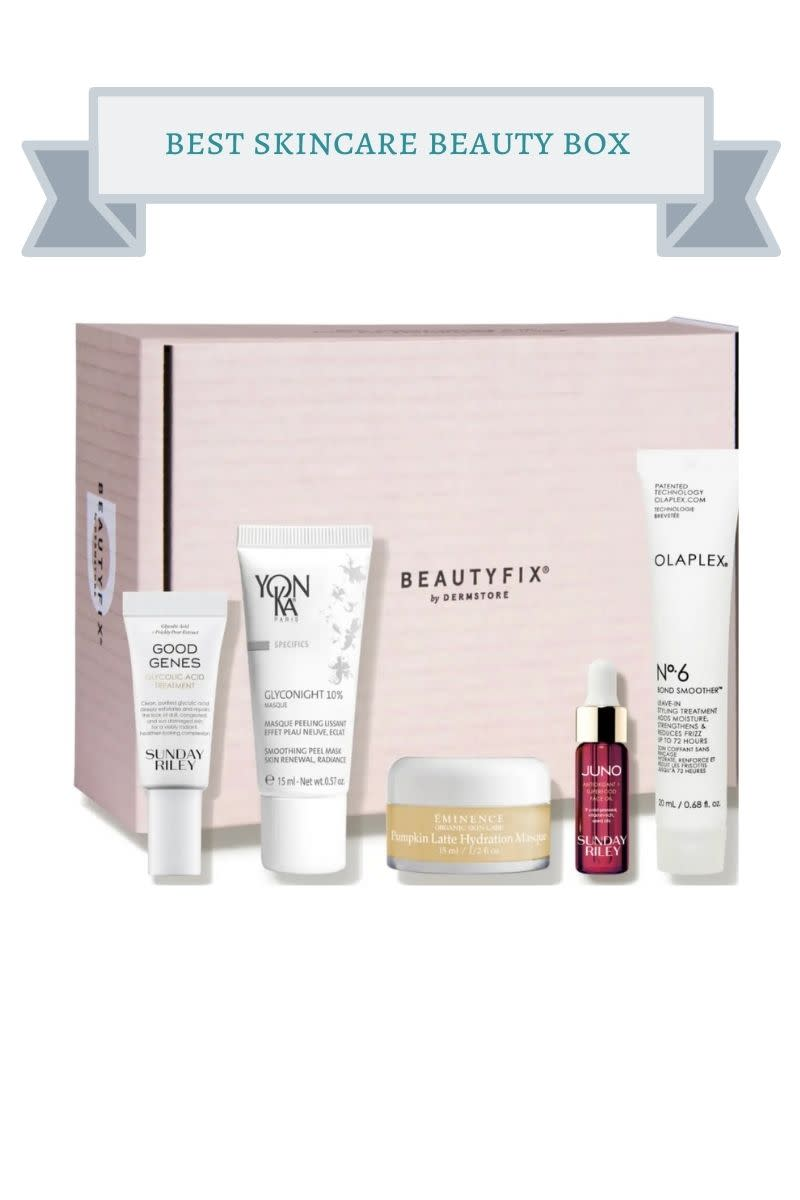 pink box with white jars of skincare serum, a yellow face mask jar and red bottle of skincare serum