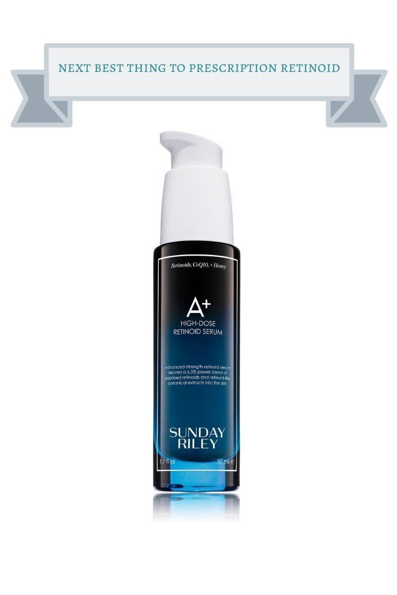 blue and black bottle of Sunday Riley retinoid serum