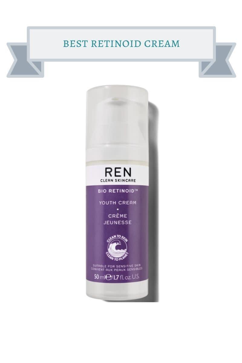 purple and white bottle of REN retinoid cream