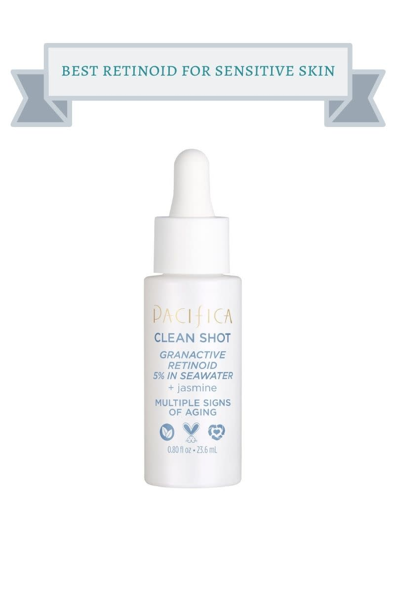white bottle with blue and gold writing of Pacifica Clean Shot Retinoid