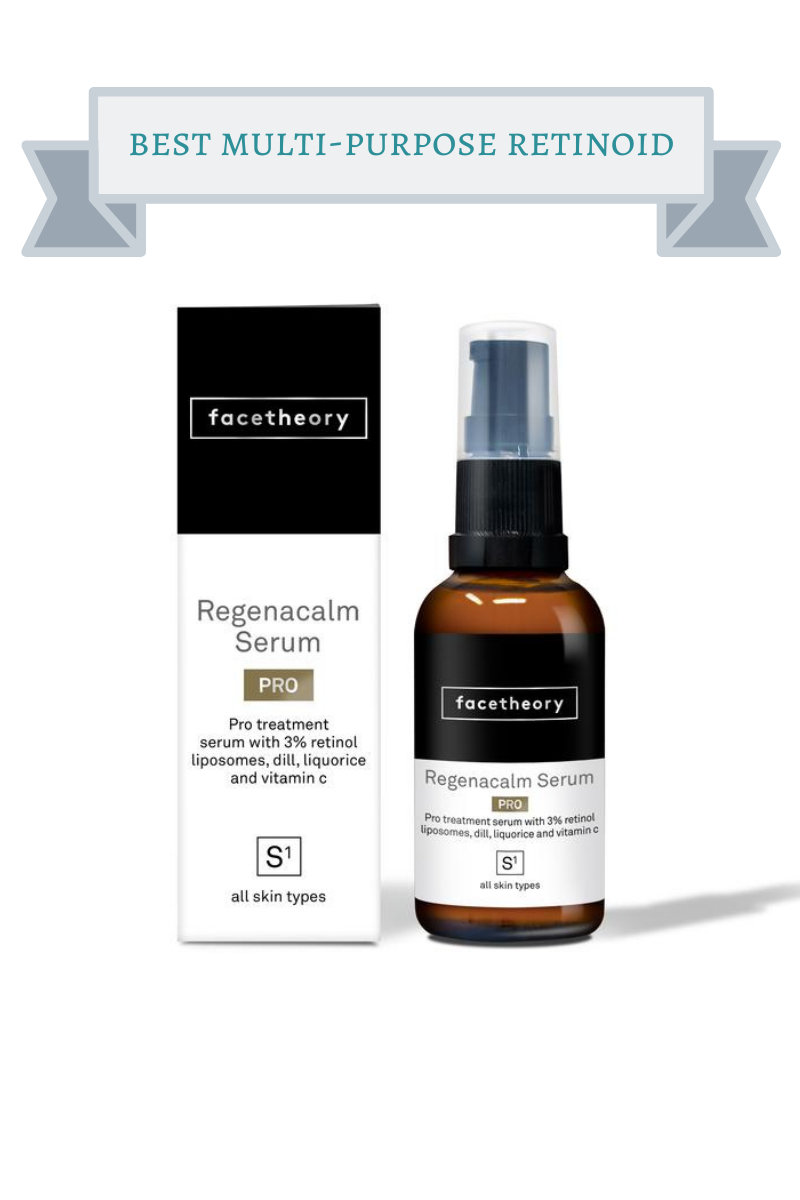 black and white box and brown jar with black and white label of facetheory Regenacalm Serum